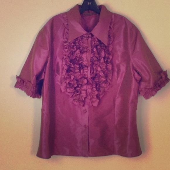 18f277dc95e611 Kevan Hall Mauve Silk Blouse Wruffle Front